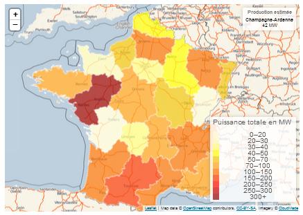 Production photovoltaïque de la France métropolitaine par région - Reuniwatt