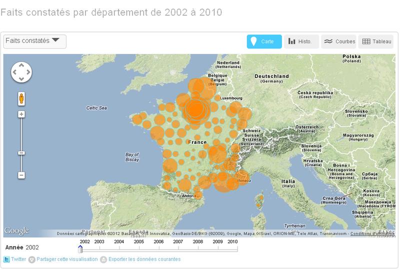 Faits de délinquance constatés par département de 2002 à 2010