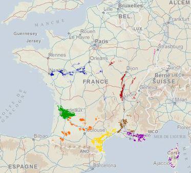 Visualisation Géoportail des délimitations des AOC viticoles.