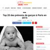 Top 20 des prénoms de garçon à Paris en 2015