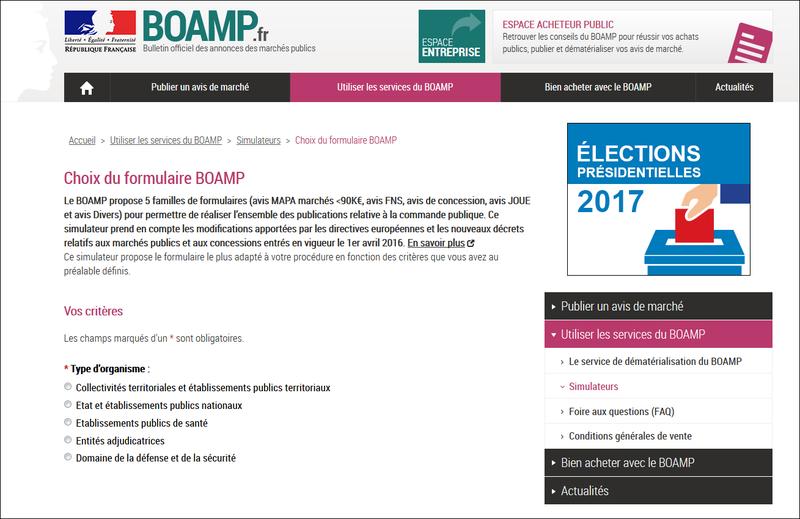 SIMULATEUR CHOIX DE FORMULAIRES DE PUBLICATION AU BOAMP