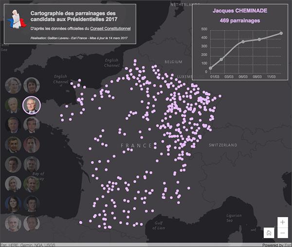 Cartographie des parrainages aux présidentielles 2017
