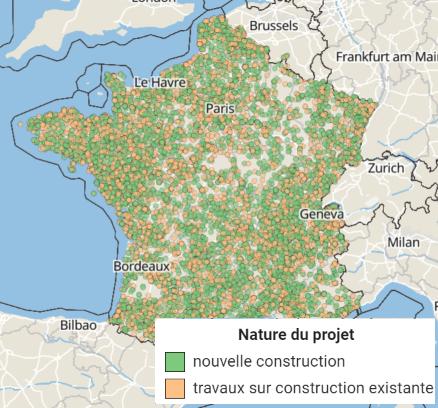 Carte des permis de construire et déclarations préalables de locaux depuis 2017 - SITADEL
