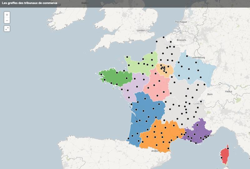 Carte de France interactive des greffes des tribunaux de commerce