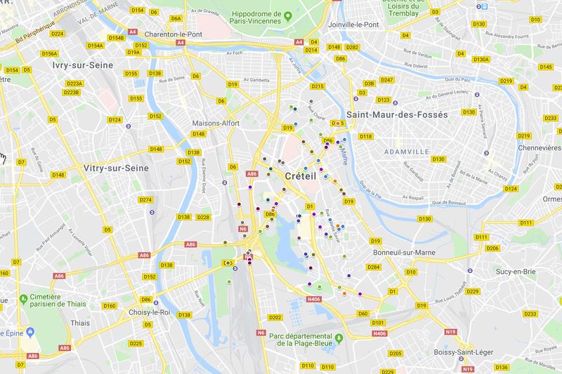 Les accidents de vélo à Créteil de 2008 à 2018