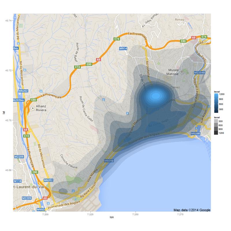 Carte des accidents à Nice (2006-2011)