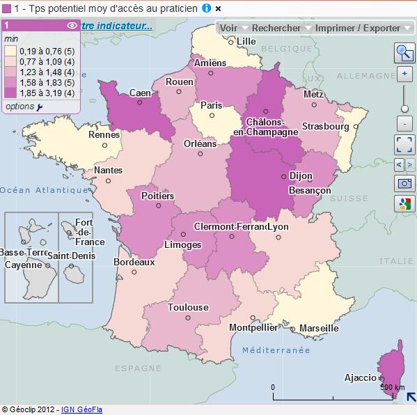 Cartographie des temps d'accès aux généralistes libéraux par région