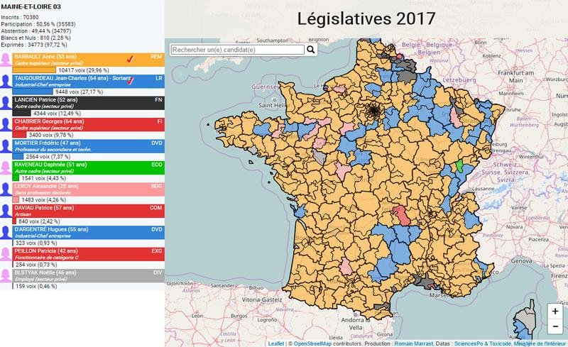 Cartographie interactive Résultats Législatives