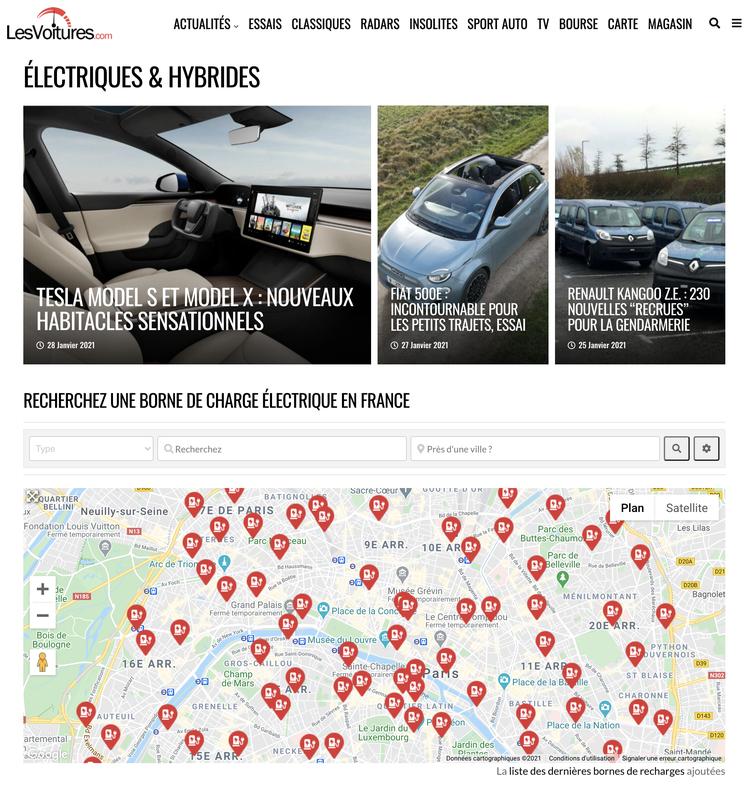 Bornes de Recharge : carte des stations pour voiture électrique