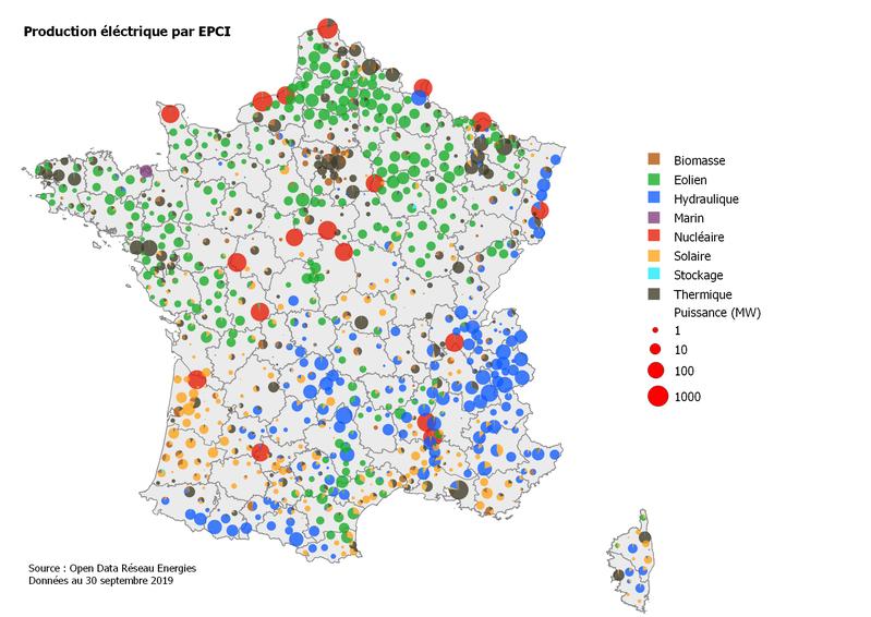 Carte de la production électrique par EPCI