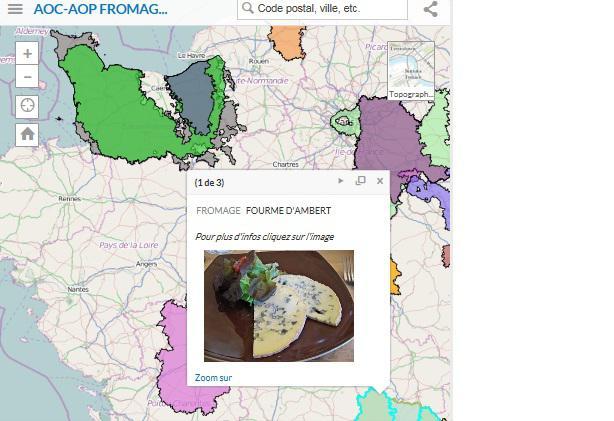 carte intéractive des AOP-AOC de fromages