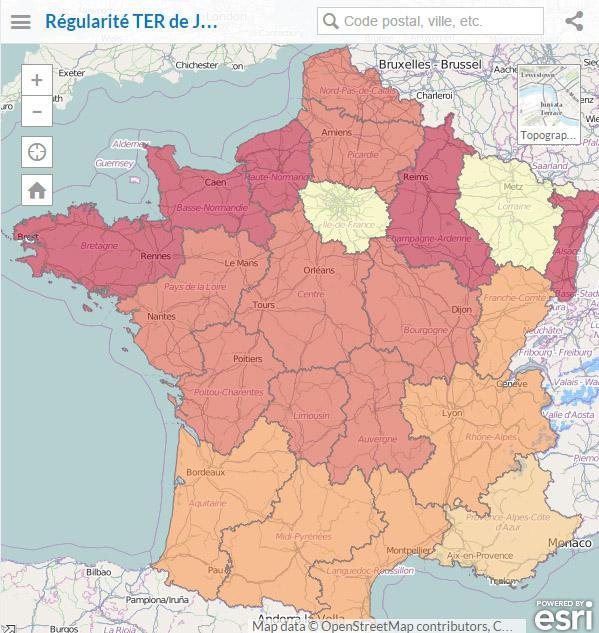 Application sur le régularité TER en Région