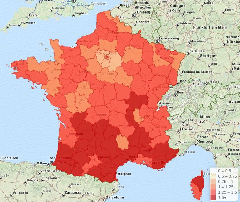 Carte interactive - Répartition des salons de coiffure / coiffeurs à domicile et centres de soins de beauté en France