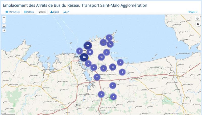Carte des arrêts de bus du Réseau Transport Saint-Malo Agglomération