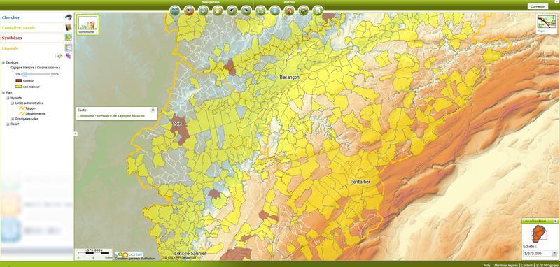 Sigogne, le géo-visualiseur de biodiversité en Franche-Comté