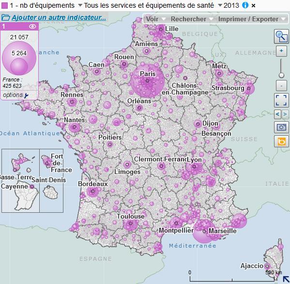 Cartographie des équipements de santé