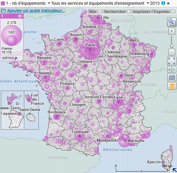 Cartographie des équipements de l'enseignement
