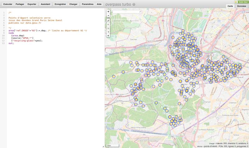Intégration des données dans OpenStreetMap, et visualisation (PAV verre)