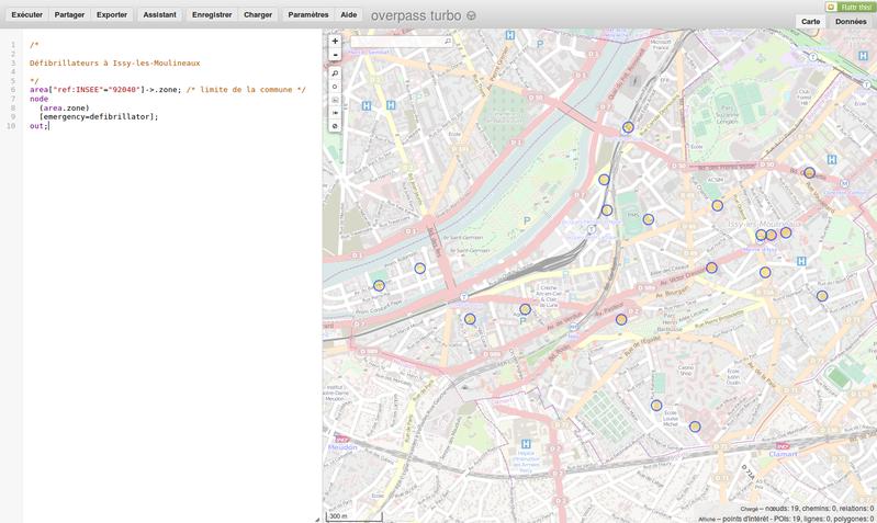 Intégration des données dans OpenStreetMap, et visualisation (défibrillateurs Issy)