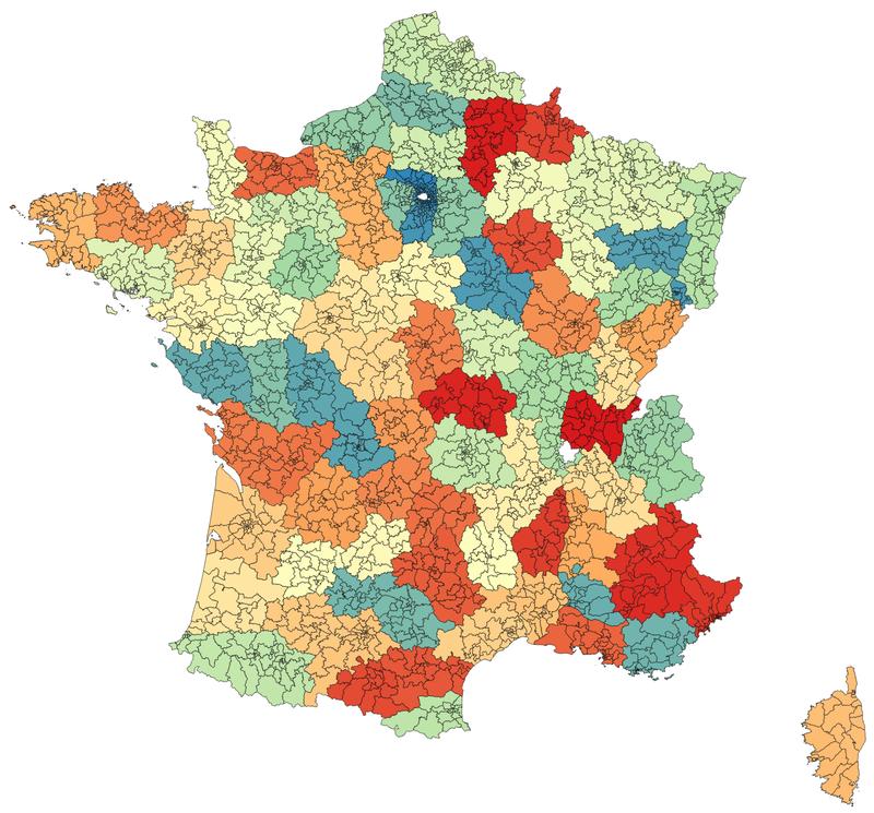 Visualisation des cantons électoraux 2015