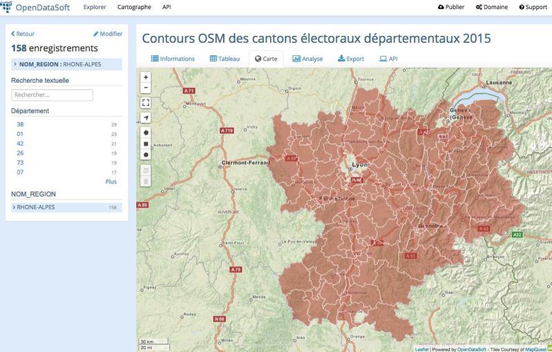 Filtrez (départ., région) les cantons et réupérer les données en csv ou via API