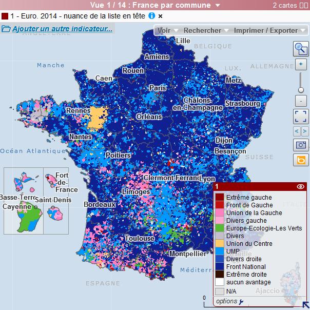 Cartographie des résultats des élections européennes de 2014