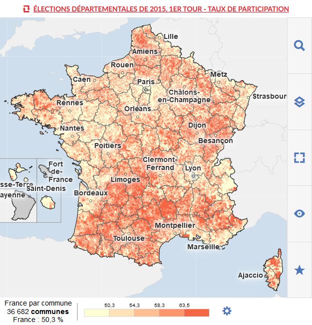 VERSION MOBILE - Cartes des résultats des départementales 2015