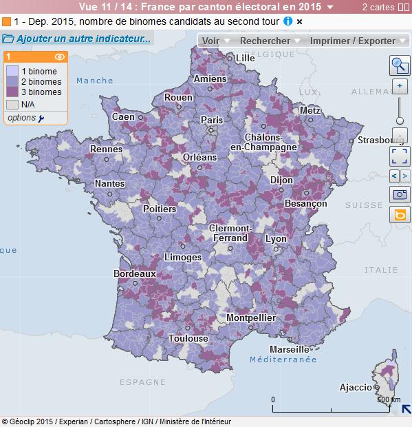 Carte interactive : binômes candidats au 2ième tour des départementales 2015