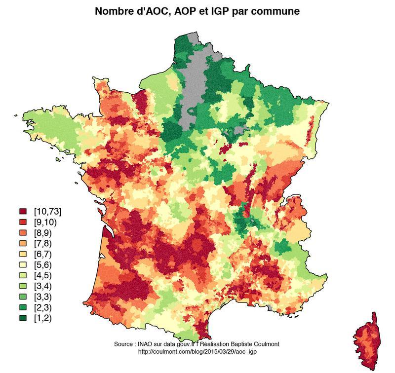 Nombre d'AOC/AOP/IGP par commune