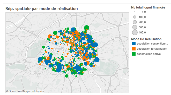 Deux cartes de Paris sur le logement social financé