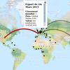 Carte de flux d'export de vins en valeur en Mars 2015 entre la France et les autres pays