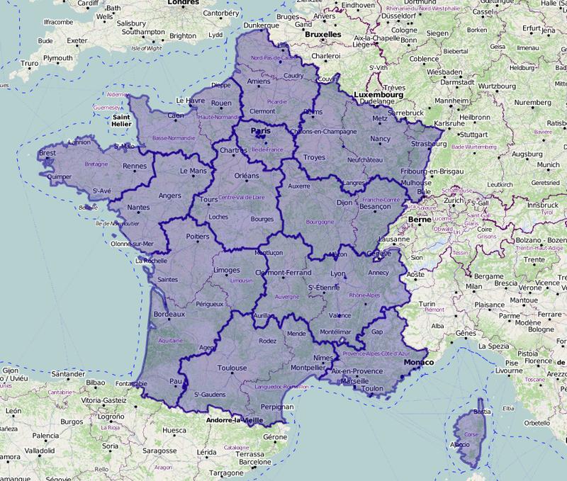 Carte des nouvelles régions (contours géographiques)