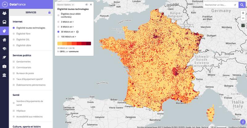 Carte interactive des débits et de l'éligibilité à internet par commune