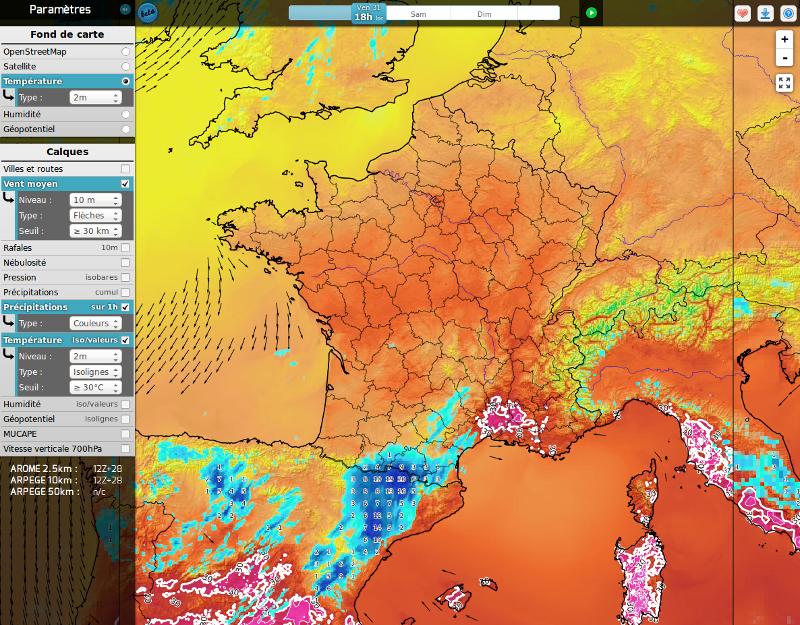 Cartographie interactive des champs des modèles AROME/ARPEGE