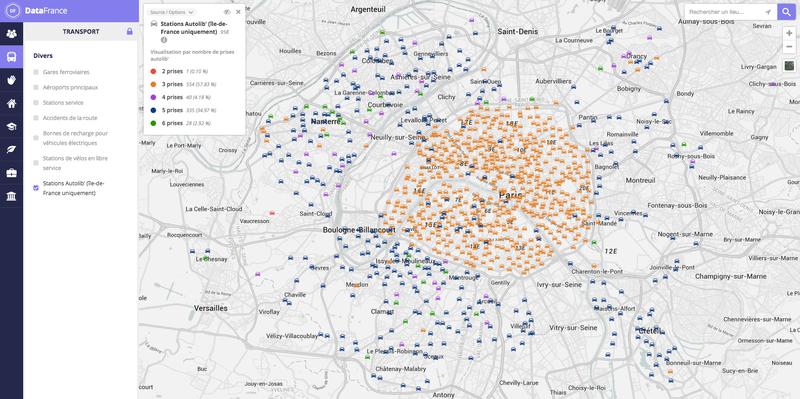 Carte interactive des stations Autolib' en Île-de-France