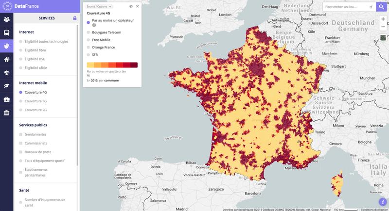 Carte interactive de la couverture 4G/3G/2G par commune et par opérateur