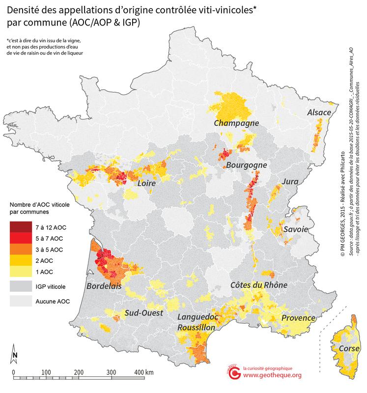 Carte des AOC/IGP Viticoles