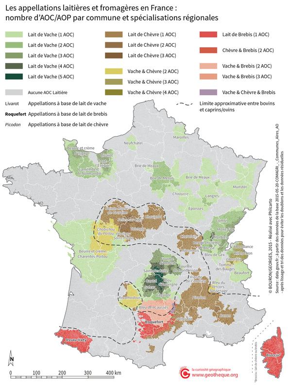 Carte des AOC Fromagères