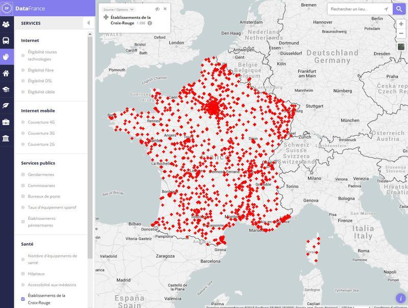 Carte des implantations de la Croix-Rouge française en France métropolitaine