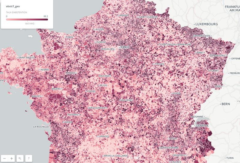 Carte interactive de l'abstention au premier tour des législatives, par communes