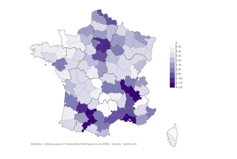 Cambriolages par département (pour 10 000 logements)