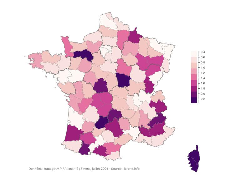 Nombre d'hôpitaux disposant d'un service d'urgence (pour 100 000 habitants)