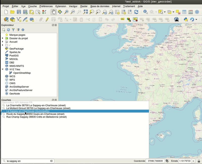 Extension QGIS de géolocalisation d'adresse
