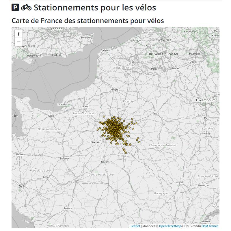 Carte des stationnements pour les vélos en Ile de France