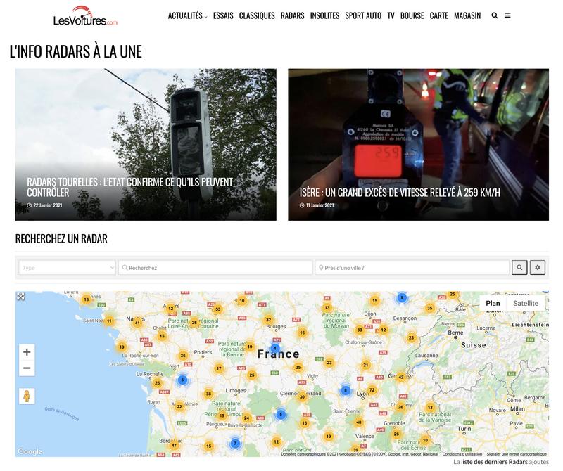 Carte des Radars