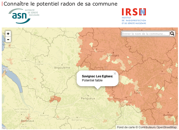 IRSN: Connaître le potentiel radon de sa commune