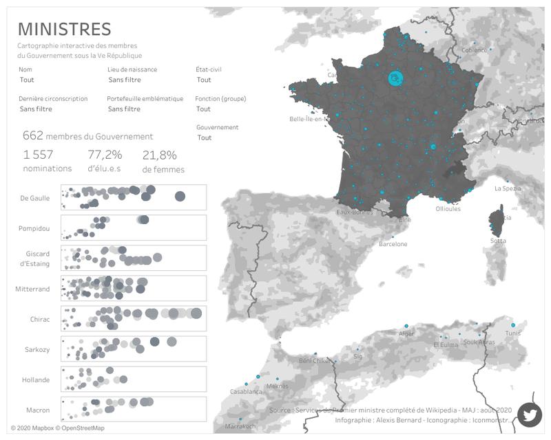 Cartographie interactive des membres du Gouvernement