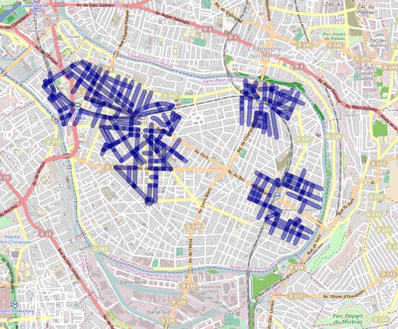 Carte de l'étendue des zones bleues à Saint-Maur des Fossés (94)