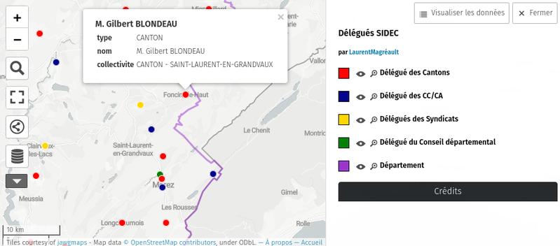 Carte des délégués au comité syndical du SIDEC du Jura