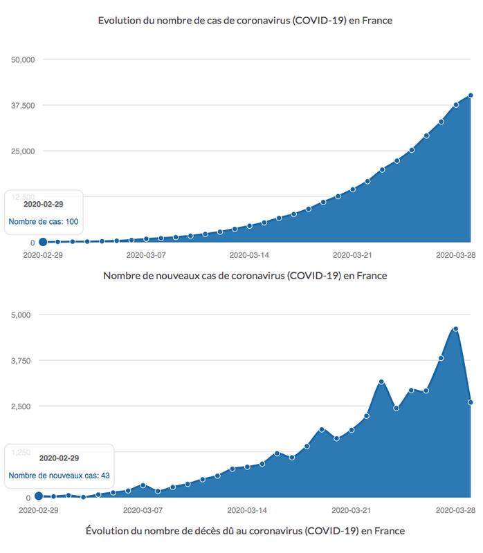 Evolution du nombre de cas de coronavirus (COVID-19) en France